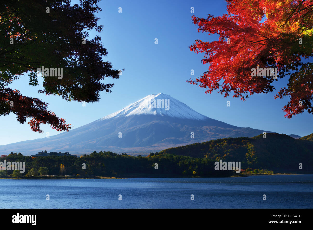Mount Fuji at dusk near Lake Kawaguchi in Yamanashi Prefecture, Japan. - Stock Image