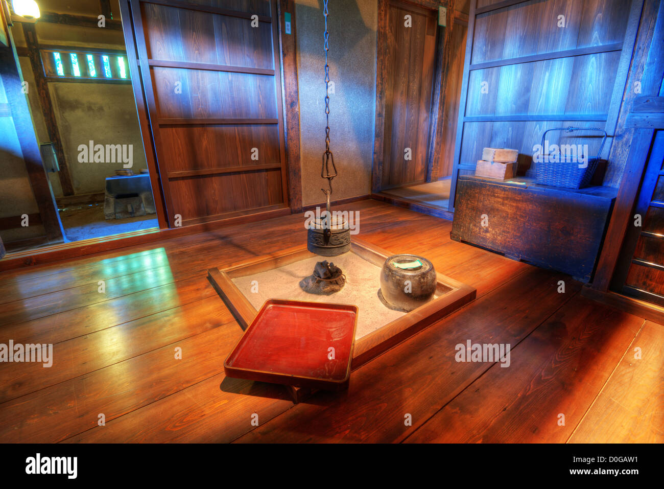 Traditional Japanese living room with fire pit Stock Photo ... on Living Room Fire Pit id=39770