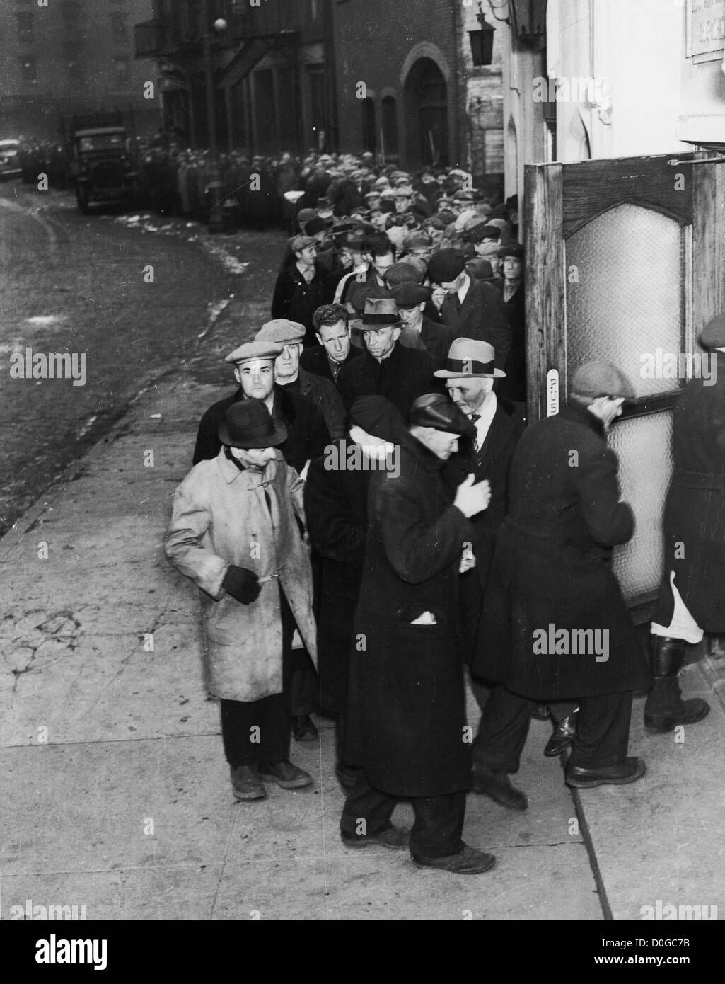 Depression era bread line, New York City - Stock Image