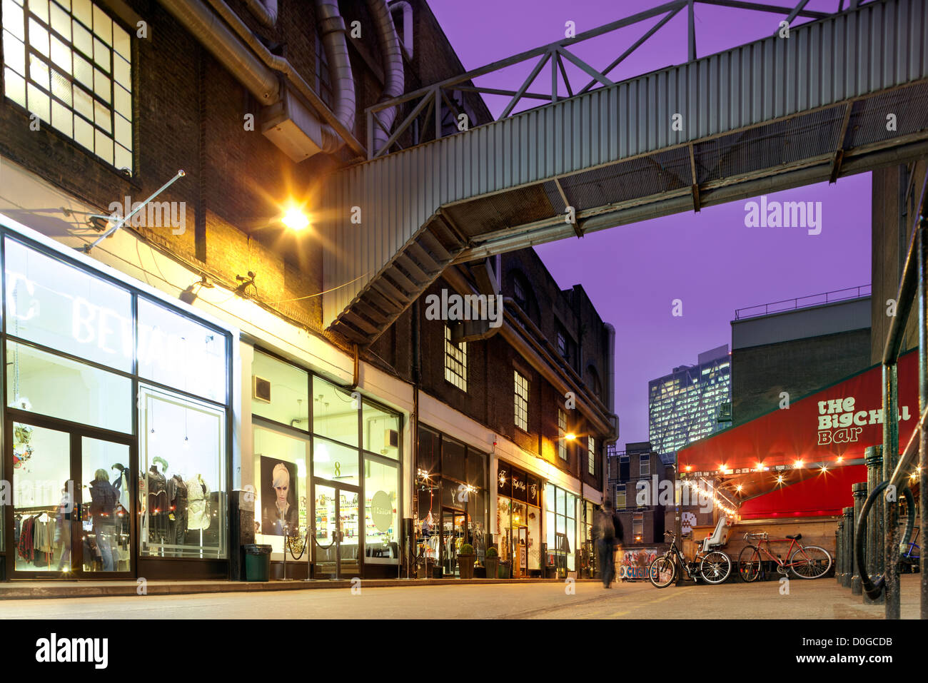The Old Truman Brewery shopping and art complex. Boutiques, shops on Dray Walk off Brick Lane Shoreditch Spitalfields - Stock Image