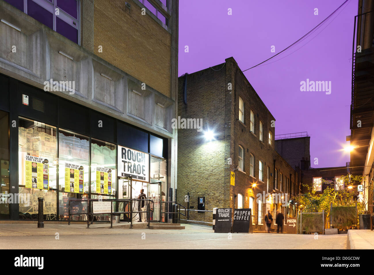 Rough Trade East Record store exterior, Dray Walk, London Shoreditch. Shop in the Old Truman Brewery just off Brick - Stock Image
