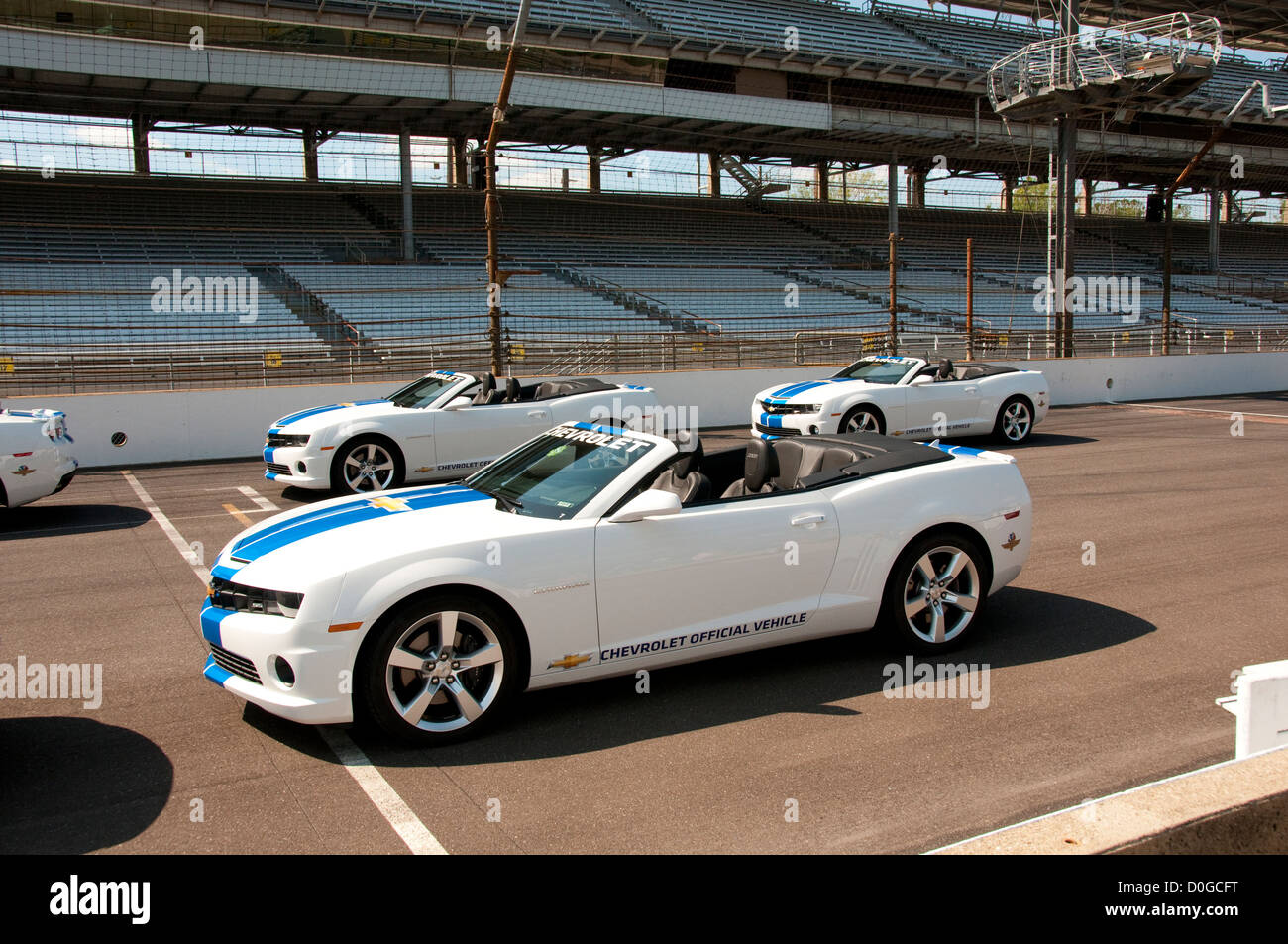 USA, Indiana, Indianapolis Motor Speedway, pace cars during off season scene of the annual Indy 500 car race. Stock Photo