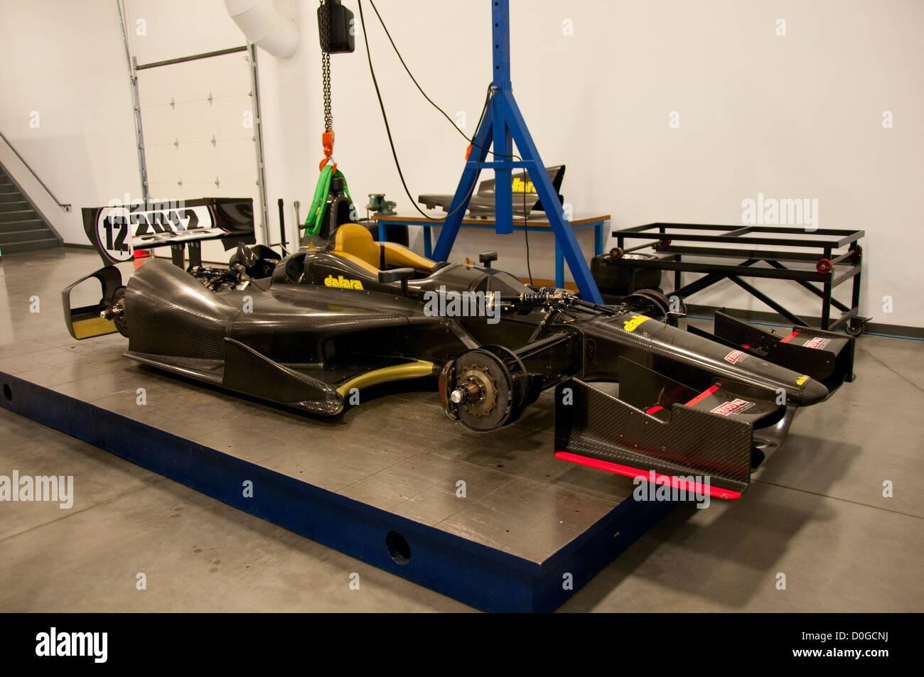 USA, Indiana, Indianapolis Motor Speedway, Indy 500 car under construction at Dellara car manufacturing facility. Stock Photo