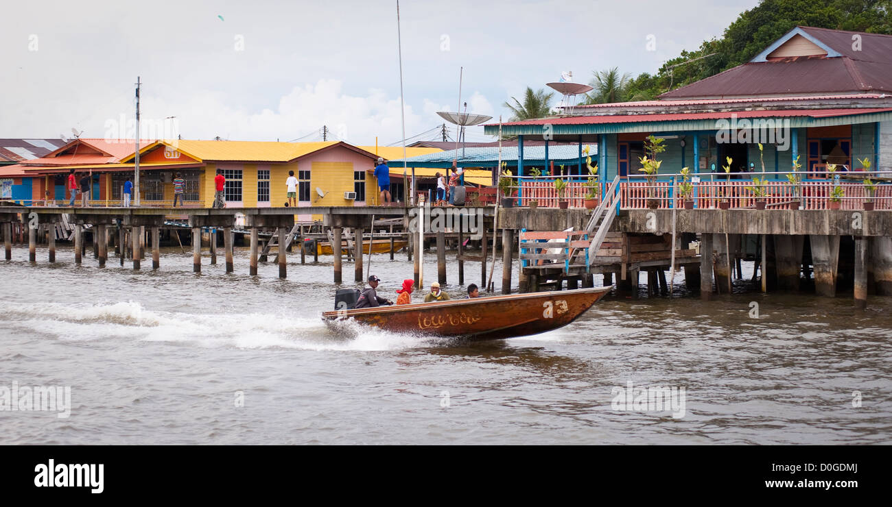 Speedboat and the water village, Brunei - Stock Image