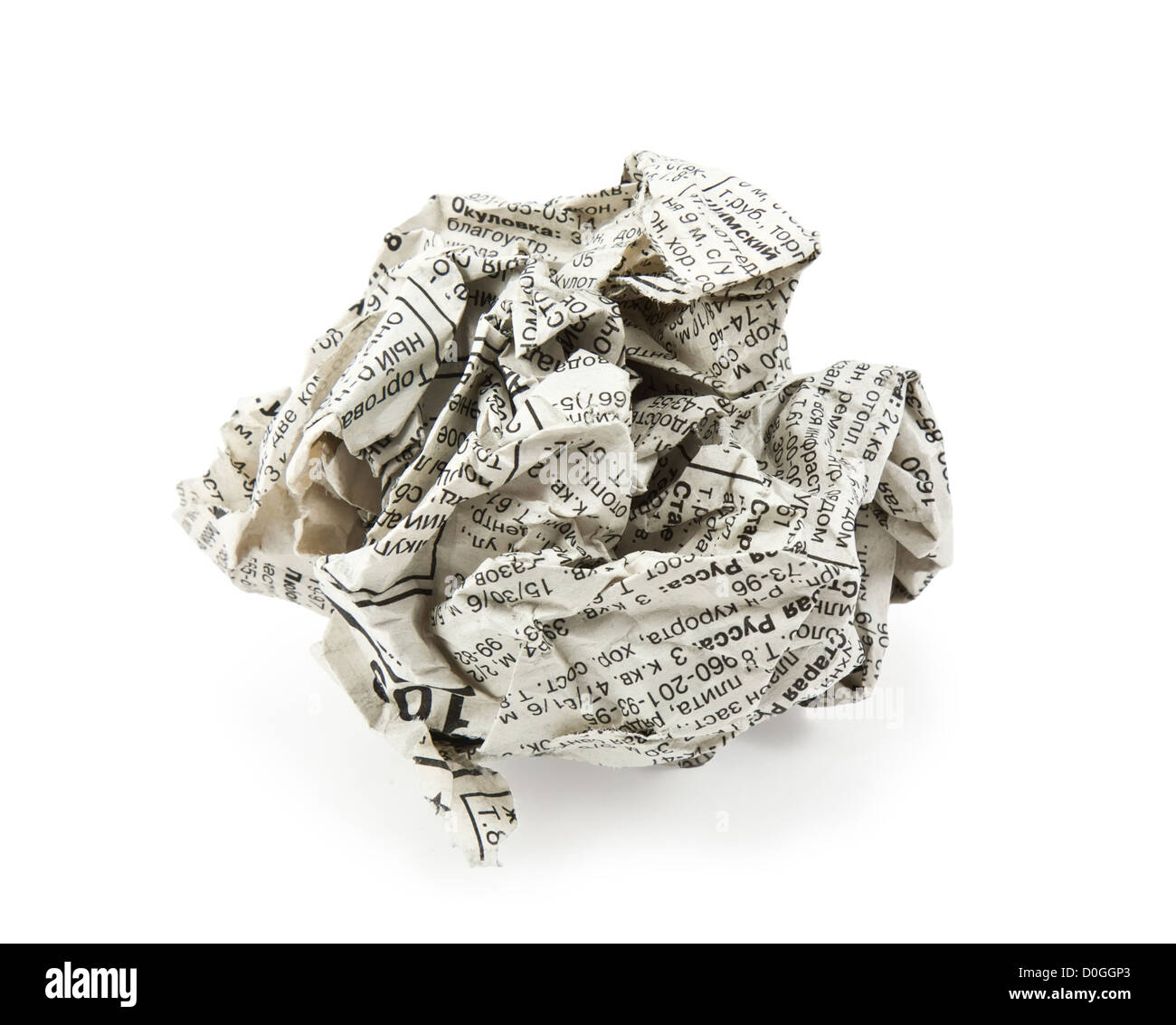 crumpled newspaper on a white background - Stock Image