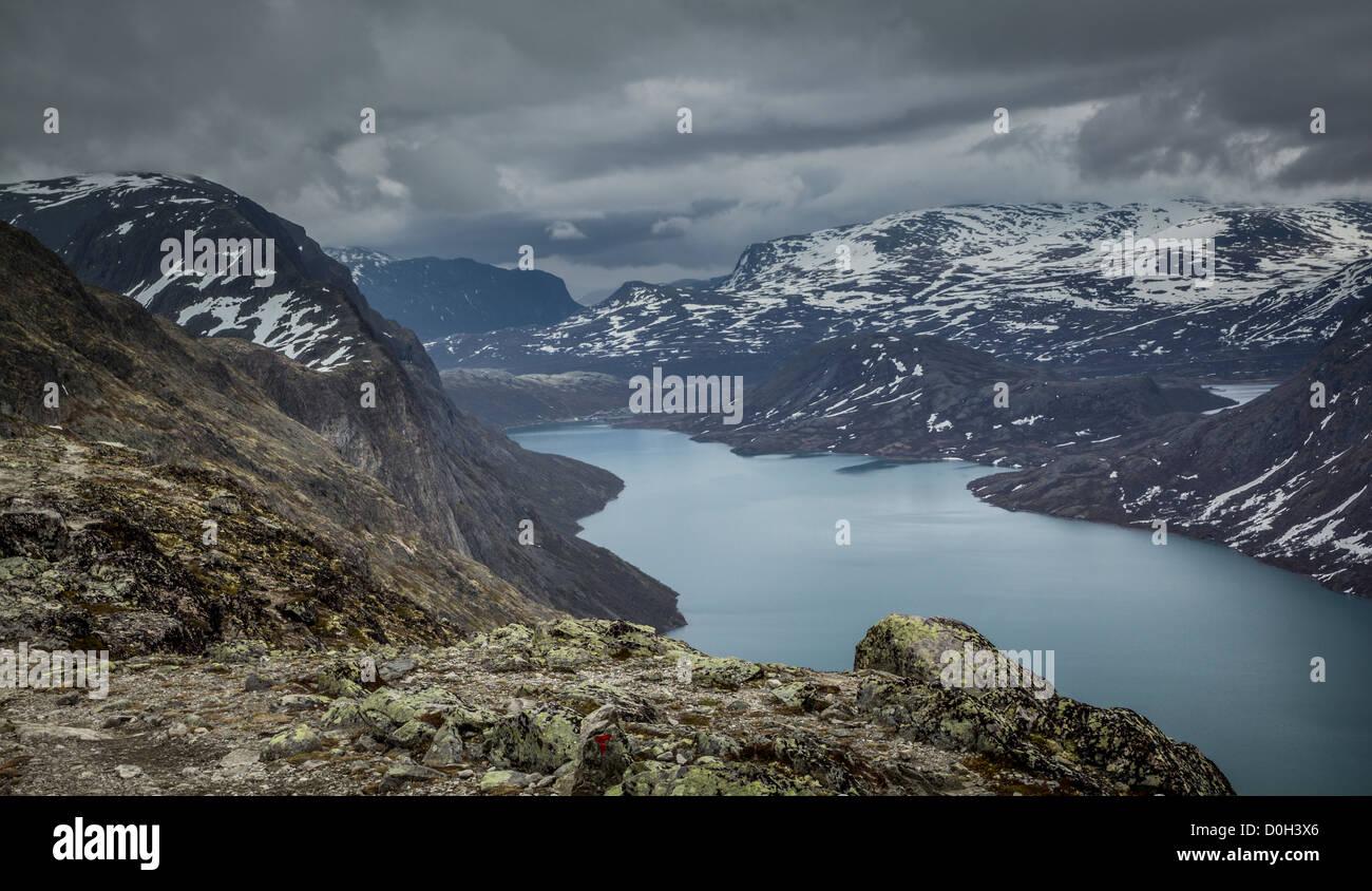 Lake Gjende and Gjendesheim from Besseggen, Jotunheimen, Norway - Stock Image