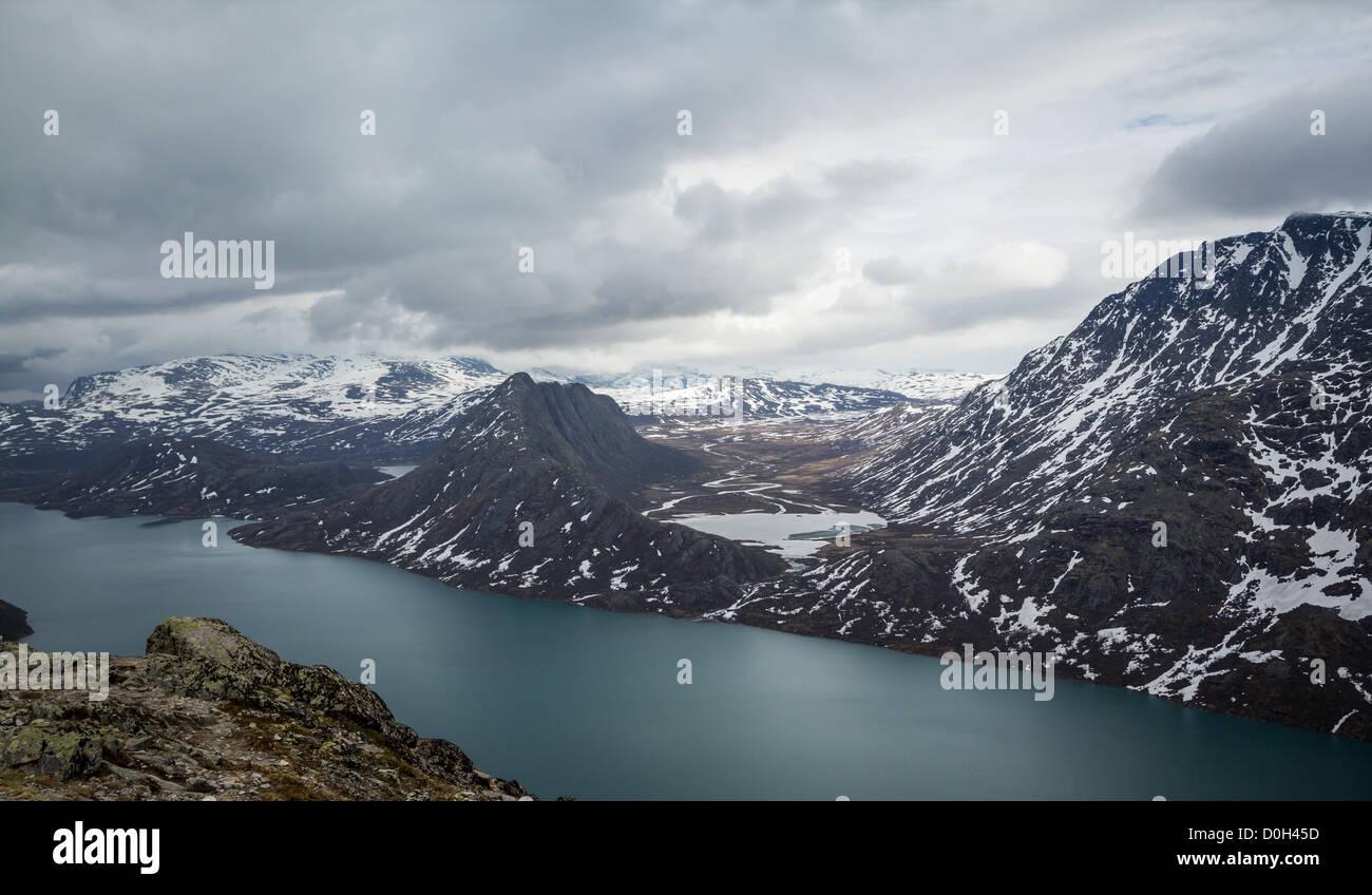 Looking Across Lake Gjende at Knutshø from the Besseggen Ridge - Stock Image