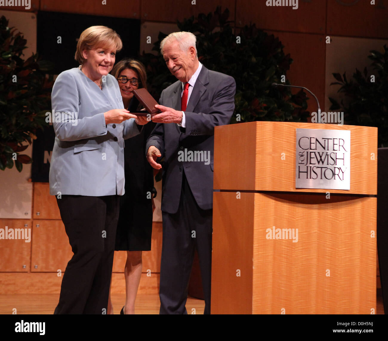 German Chancellor Angela Merkel awarded the 2010 Leo Baeck medal by executive director, Carol Kahn Strauss, W. Michael Stock Photo