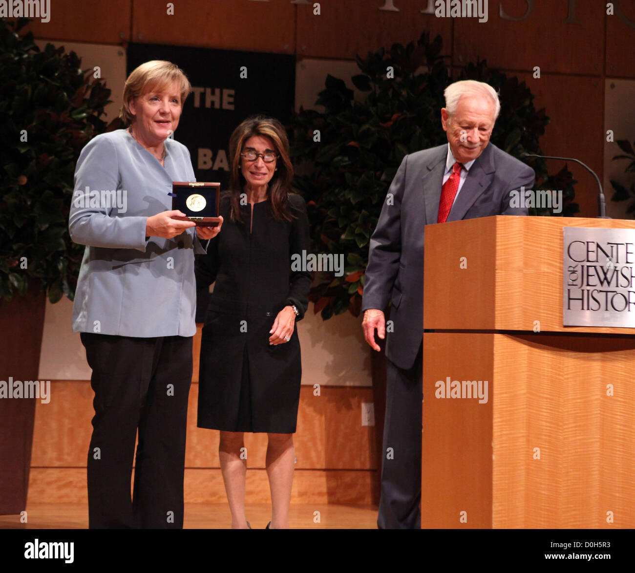 German Chancellor Angela Merkel awarded the 2010 Leo Baeck medal by executive director, Carol Kahn Strauss, W Michael Stock Photo