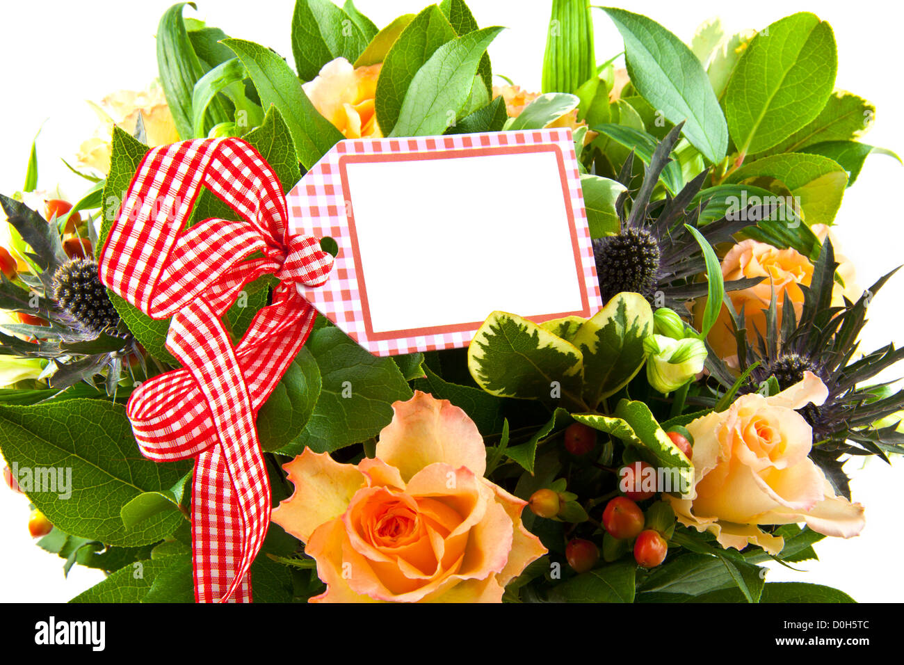 Funeral flowers card stock photos funeral flowers card stock bouquet with different kind of flowers with card on chequered red white ribbon stock image izmirmasajfo