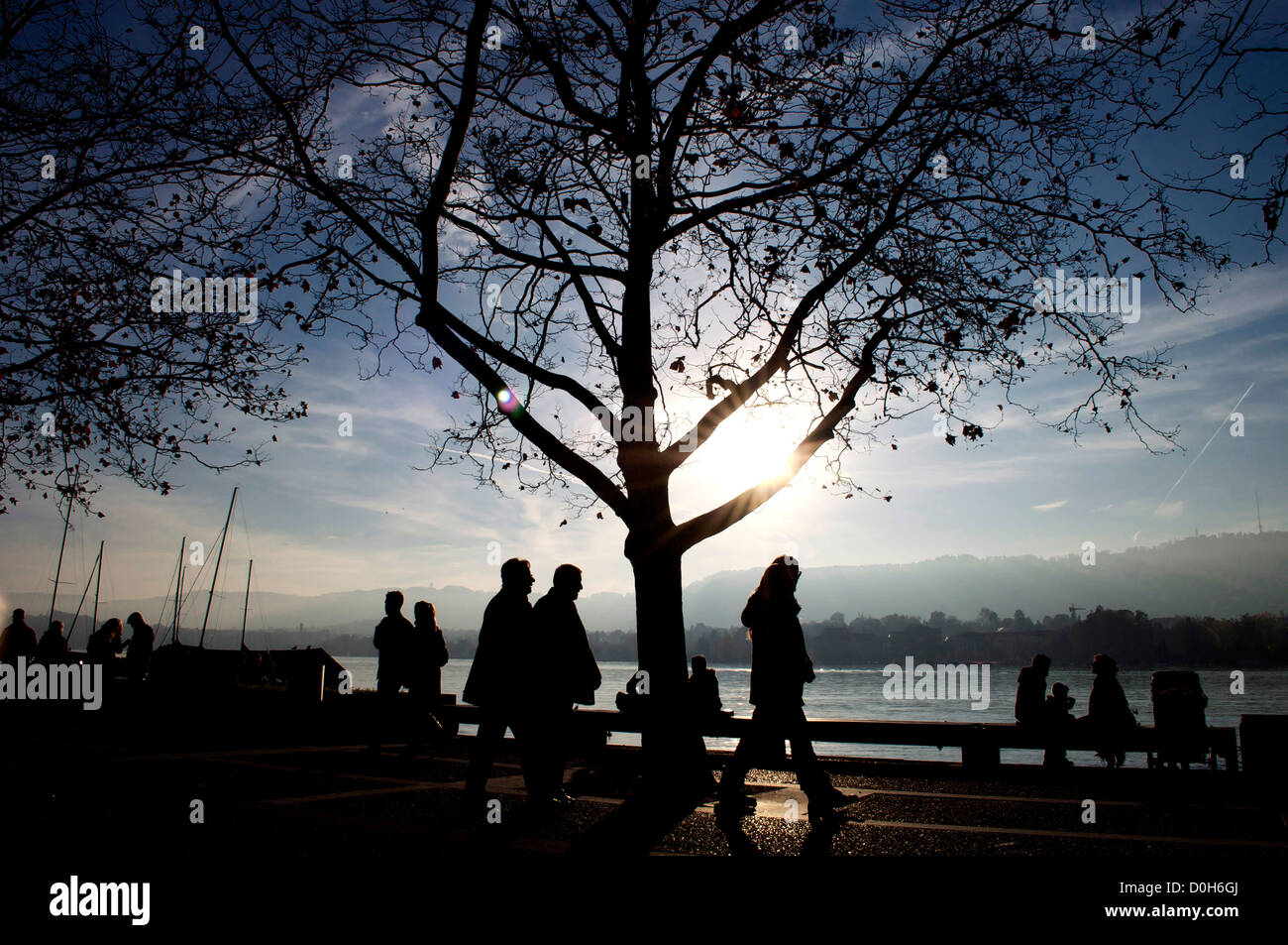 silhouette along the lake of Zürich in Switzerland - Stock Image
