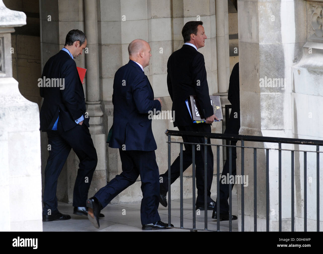 Prime Minister David Cameron arrives at the Houses of Parliament to attend Prime Minister's Questions London, England - Stock Photo