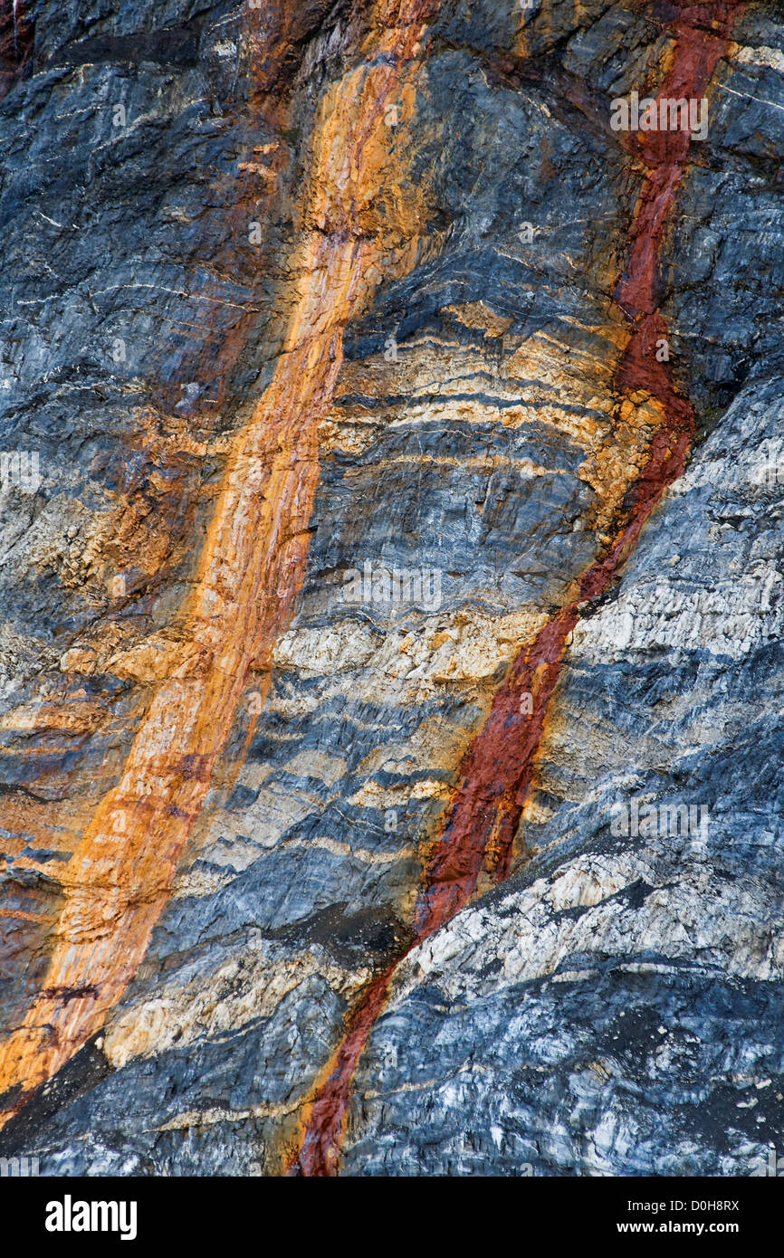 The rusty red-colored stains in outcrop suggests that bedrock contain iron oxides Burgerbukta Hornsund southern - Stock Image