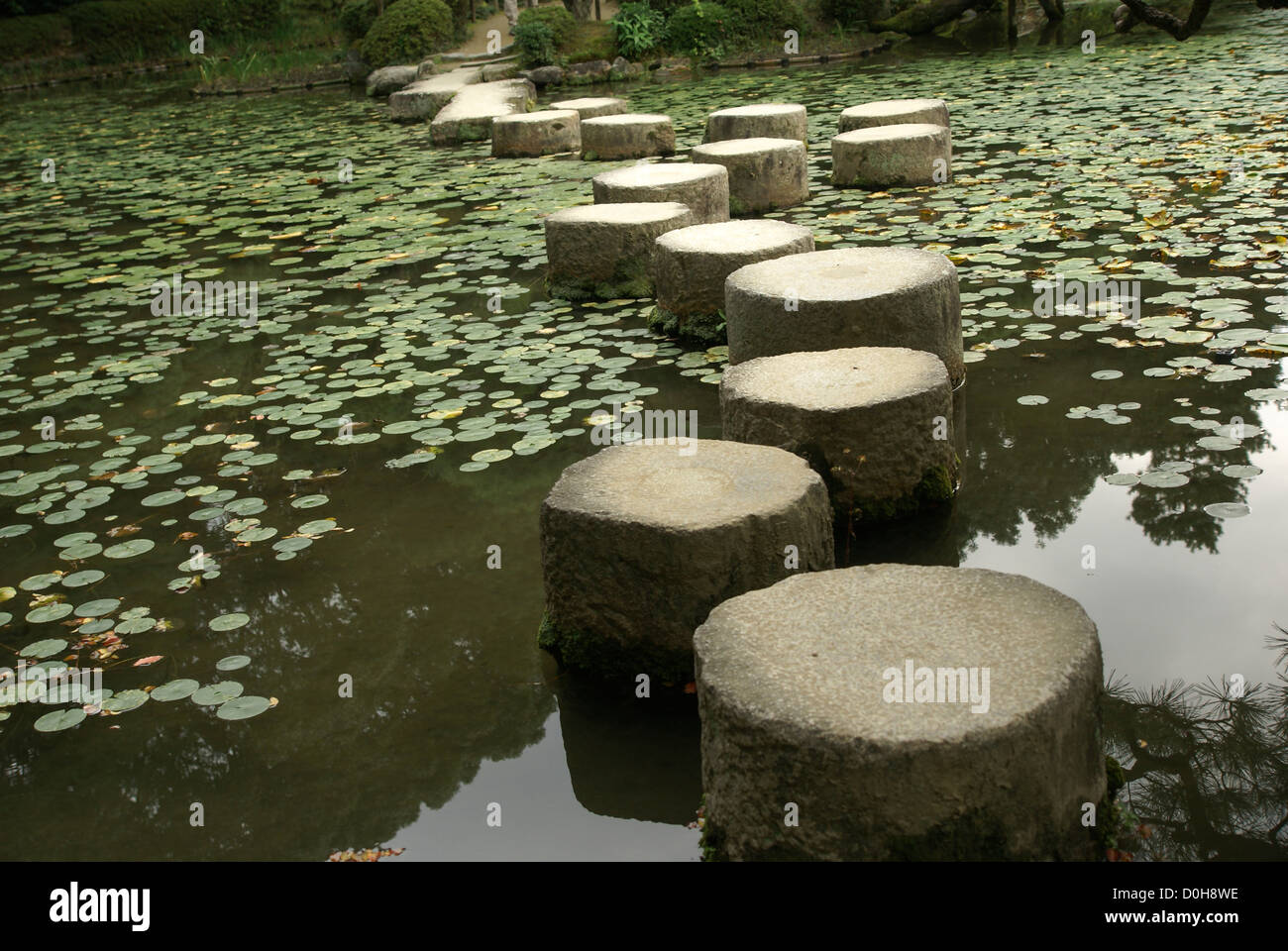 Stepping stones over a water lily pond in a zen garden at the heian stepping stones over a water lily pond in a zen garden at the heian shrine in kyoto japan workwithnaturefo