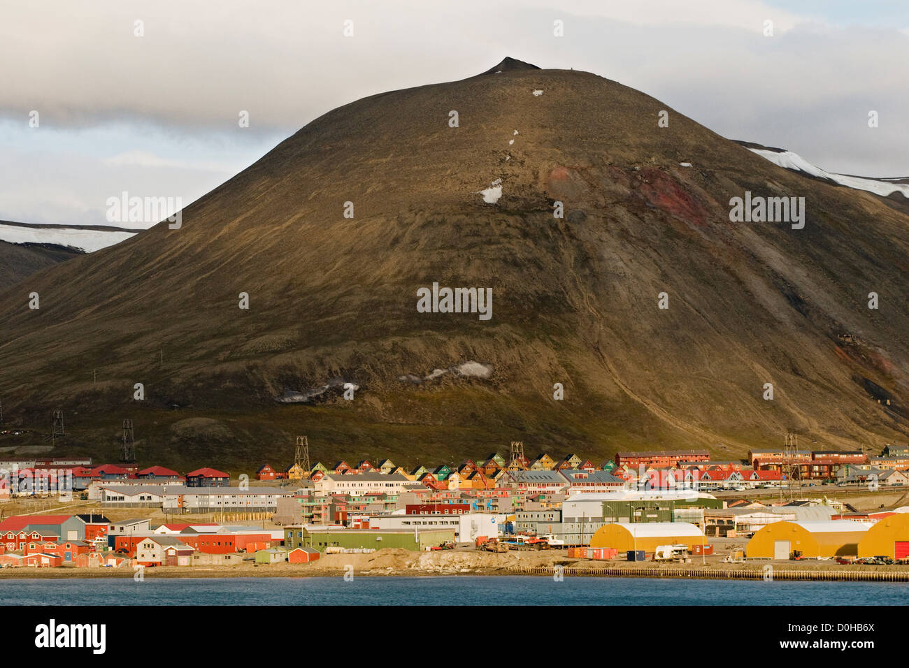 The colorful Norwegian settlement Longyearbyen coal mining town year round population is approximately 2060 located - Stock Image