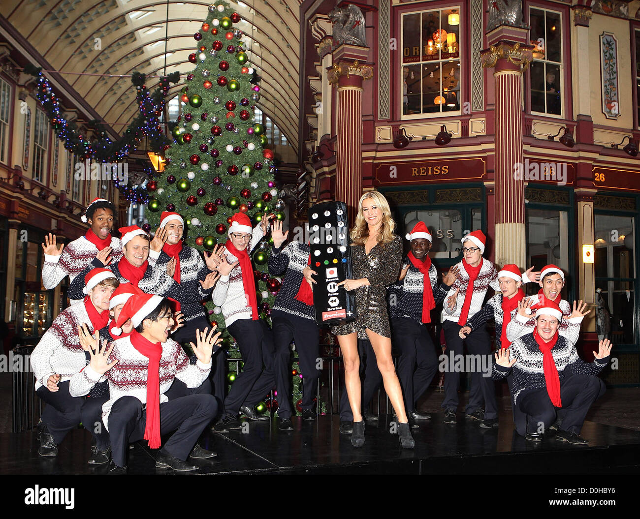 Denise Van Outen launches Freeview Plus as she rewinds a live performance of her favourite Christmas carols sung - Stock Image