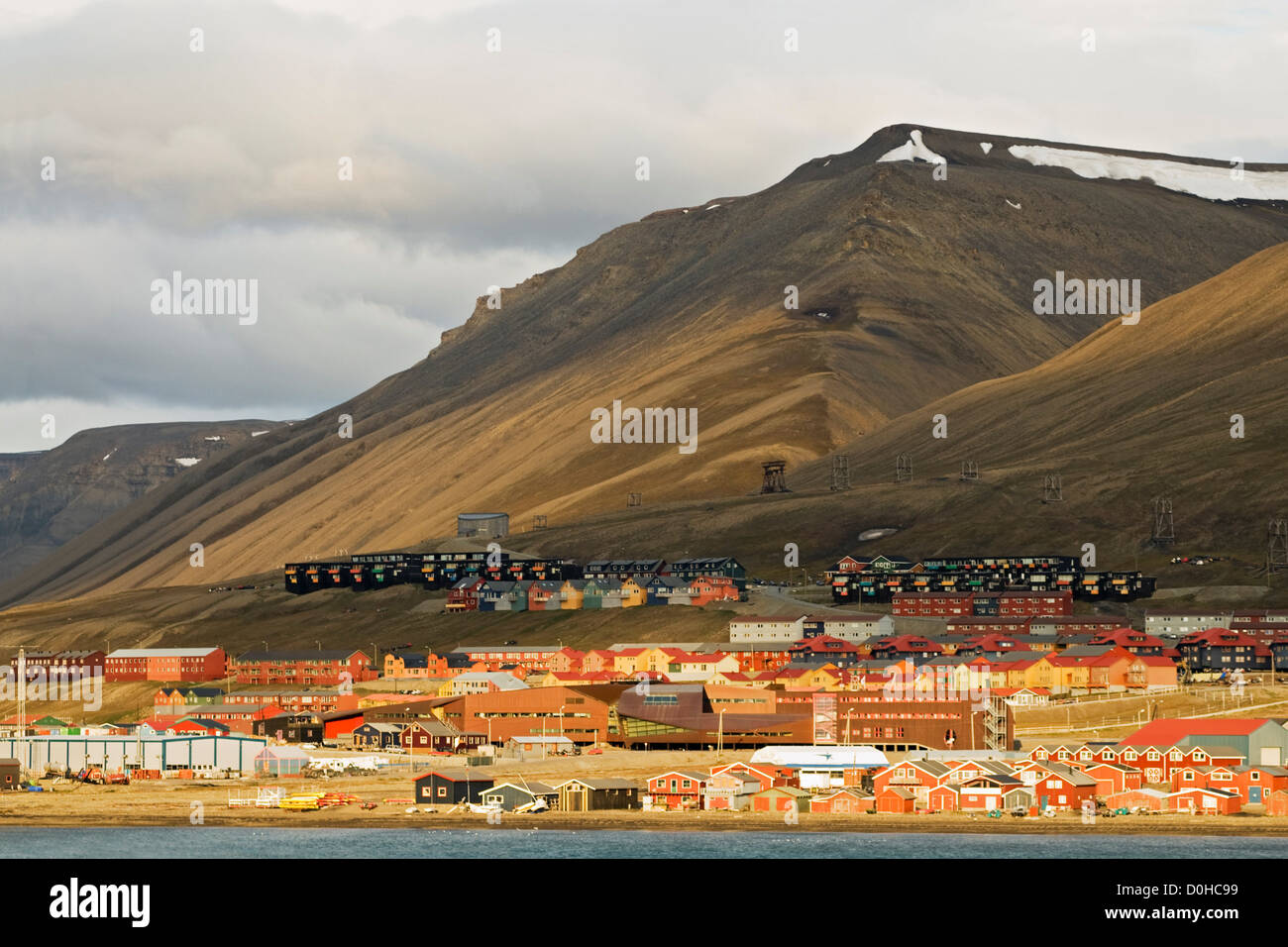 Colorful Norwegian settlement Longyearbyen largest settlement in Svalbard coal mining town year round population - Stock Image