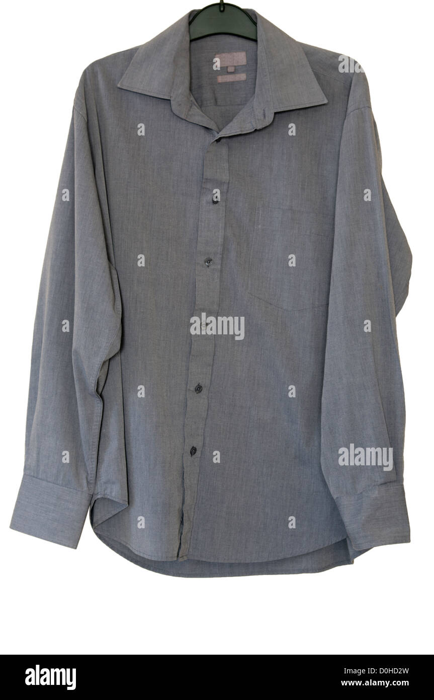 Mans Grey Long Sleeve Buttoned Shirt On A Clothes Hanger - Stock Image