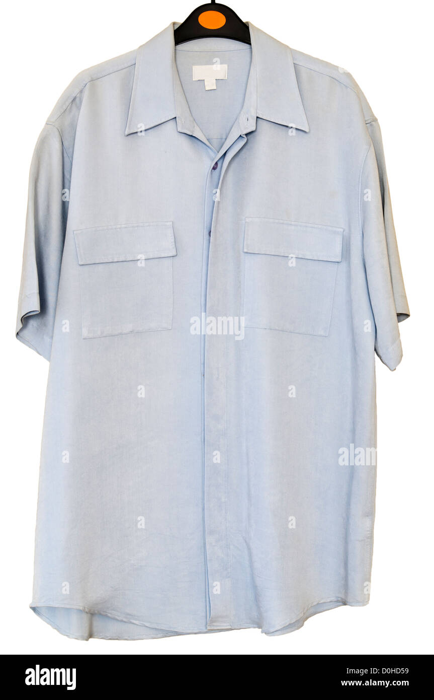 Mans Pale Blue Short Sleeve Buttoned Shirt On A Clothes Hanger - Stock Image