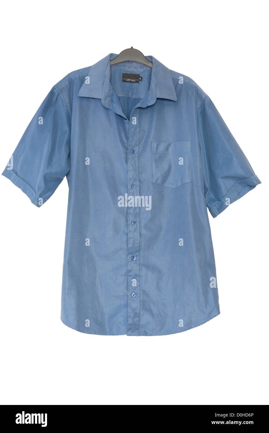Mans Blue Short Sleeve Buttoned Shirt On A Clothes Hanger - Stock Image
