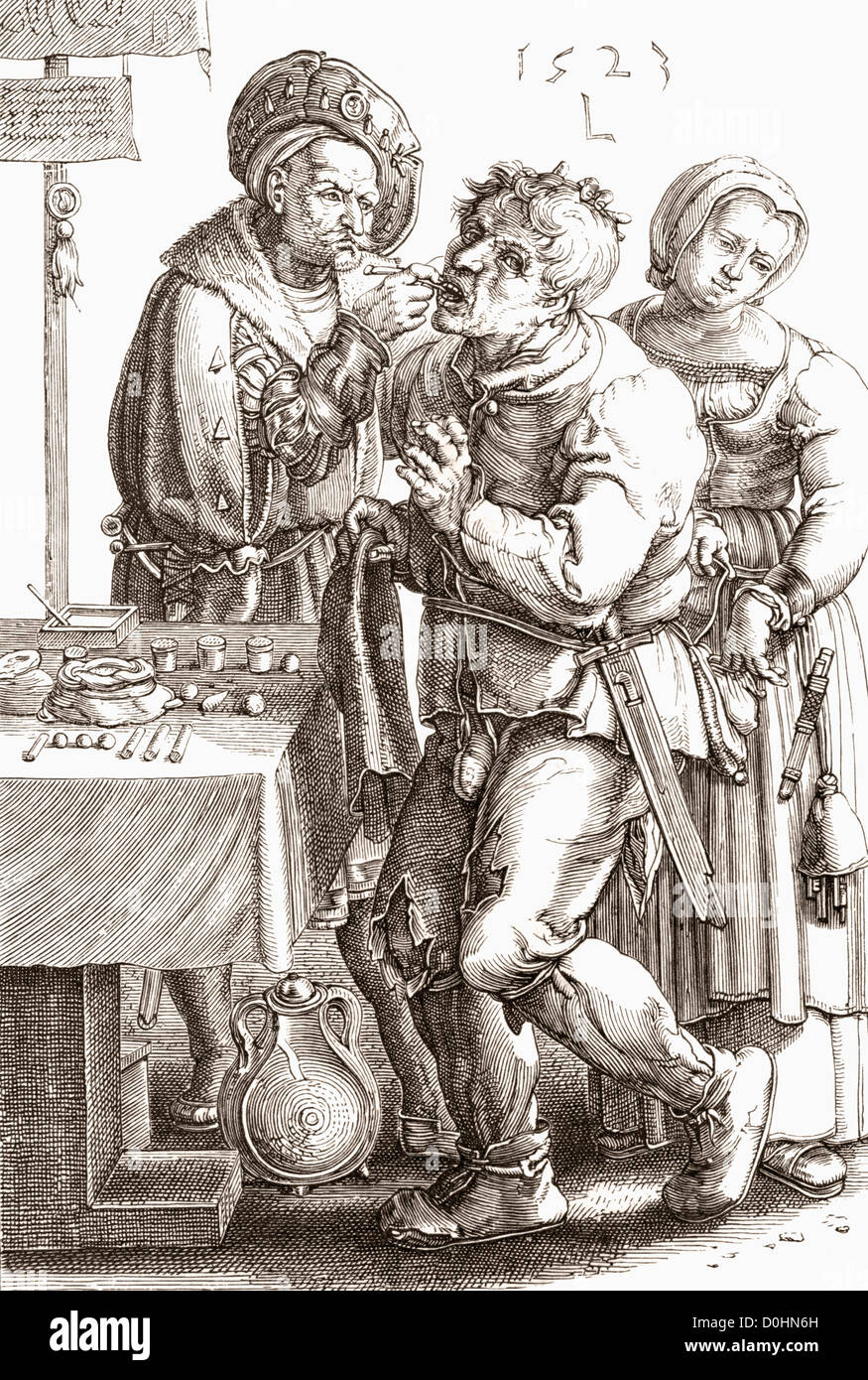 Le Chirurgien by Lucas van Leyden. A medieval dentist at work. - Stock Image