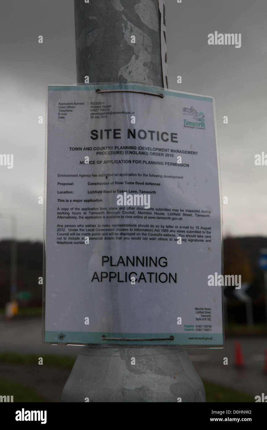 Monday 26th November 2012. The planning application for the River Tame Flood Alleviation Works set against a leaden - Stock Image