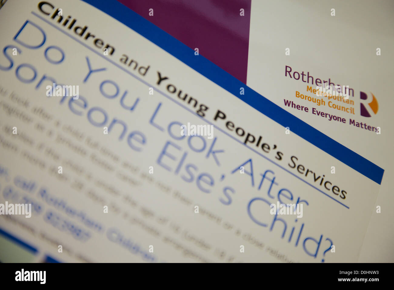 Rotherham Metropolitan Borough Council Fostering Literature - Stock Image