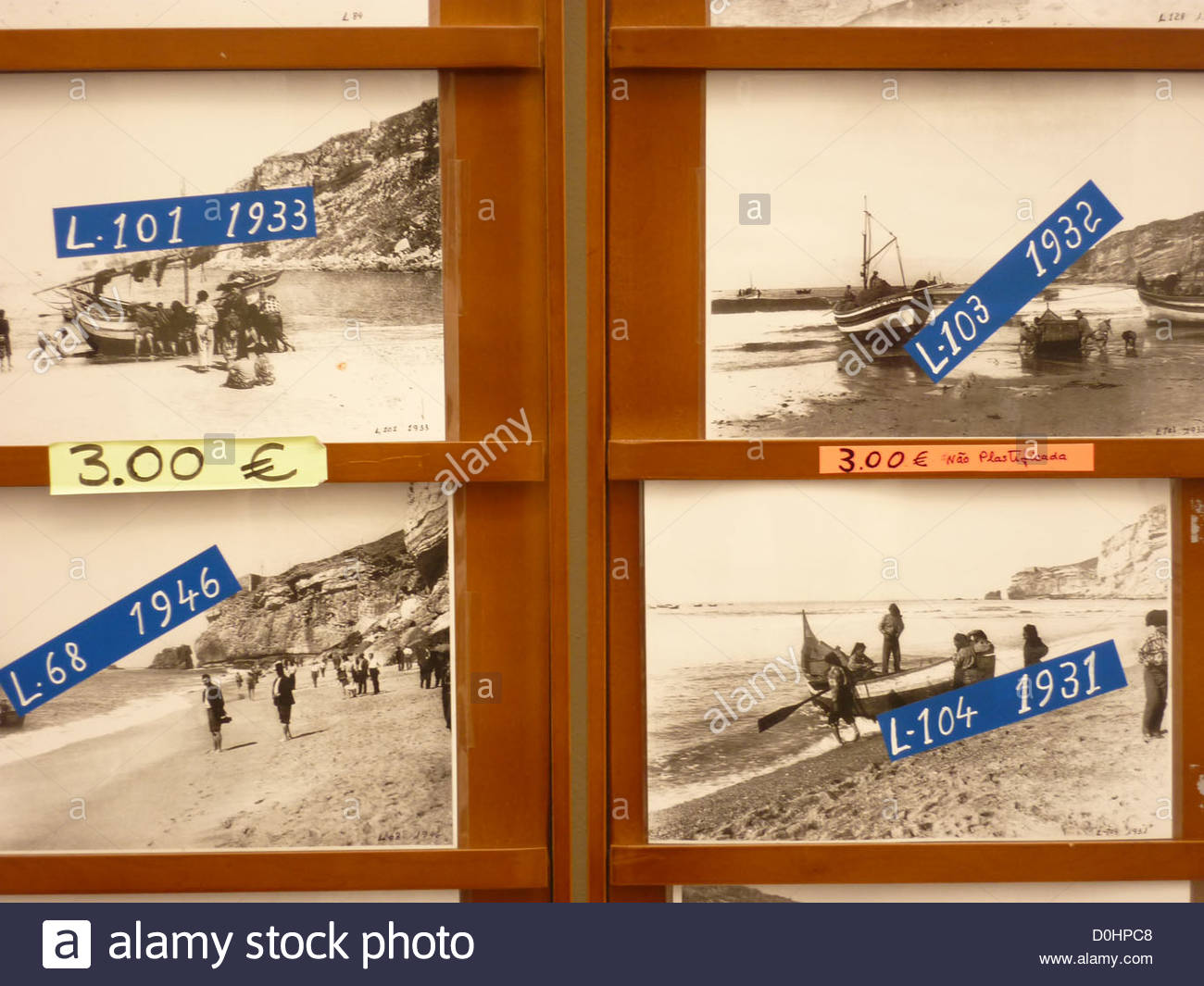 Old photographs of Nazaré Portugal - Stock Image