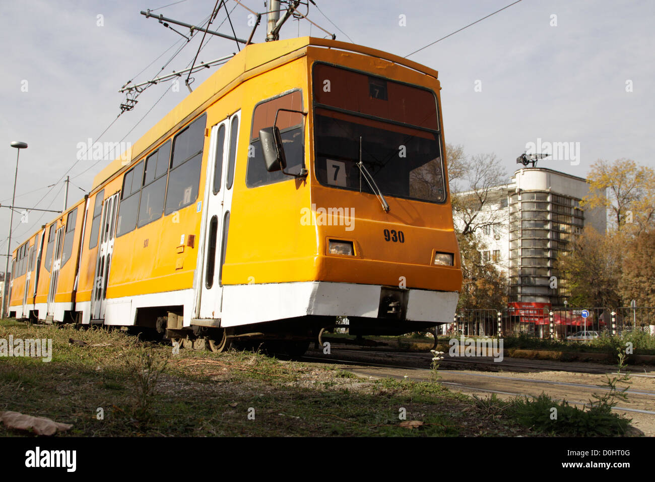 Unsafe tramway system in Sofia: a twenty year old T6M-700 tram Stock Photo