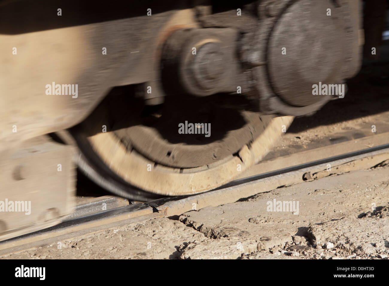 Unsafe tramway system in Sofia: tram wheel rolling over a broken rail. - Stock Image