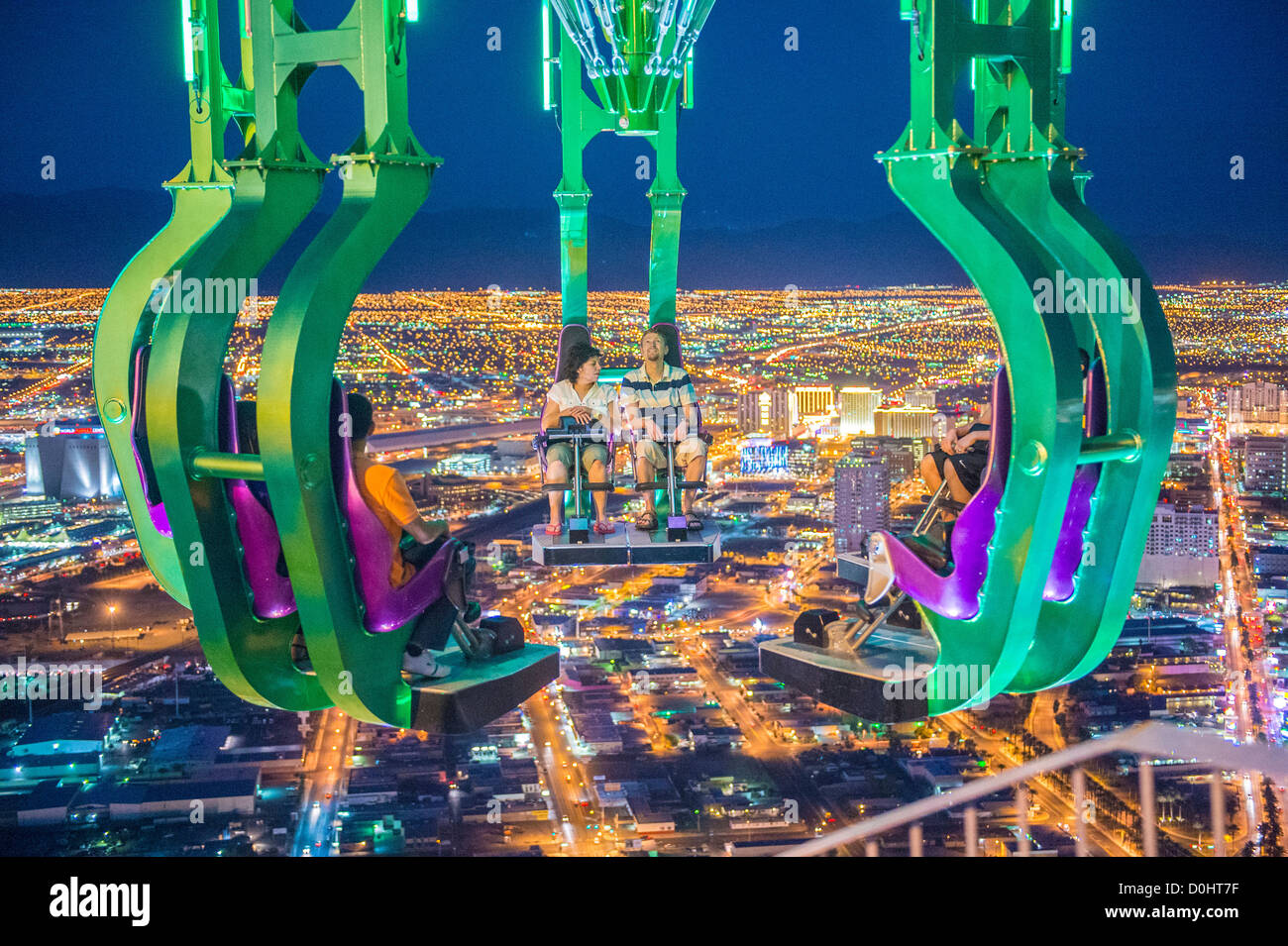 The x-stream thrill ride on the top of Stratosphere tower in Las Vegas. - Stock Image