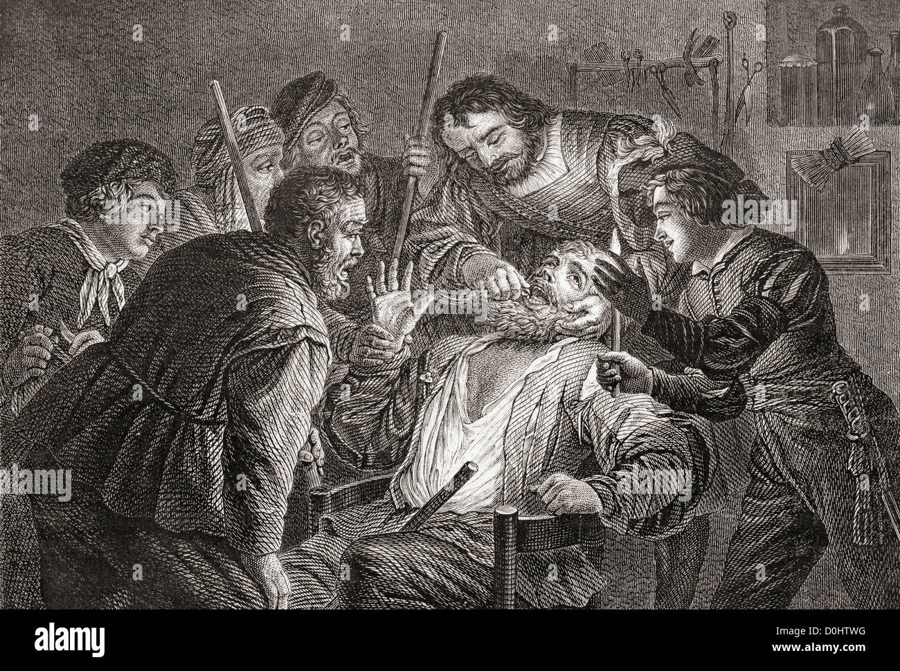 La Dentiste, The Dentist by Gerard van Honthorst.  Dentistry in the 17th century. - Stock Image