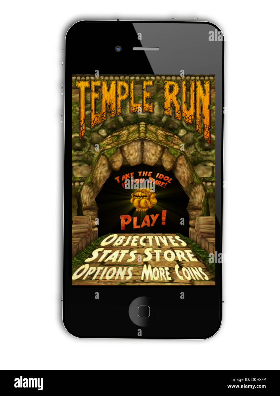 Temple Run - a popular game in iPhone game market - Stock Image