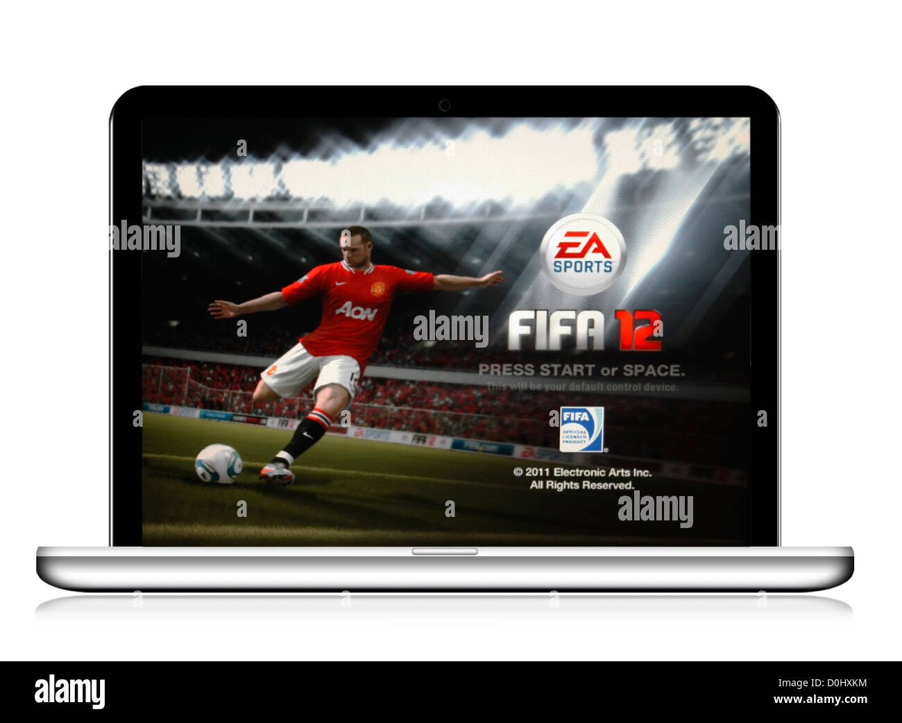 FiFA 12 , a PC Game in a laptop computer isolated on a white background - Stock Image