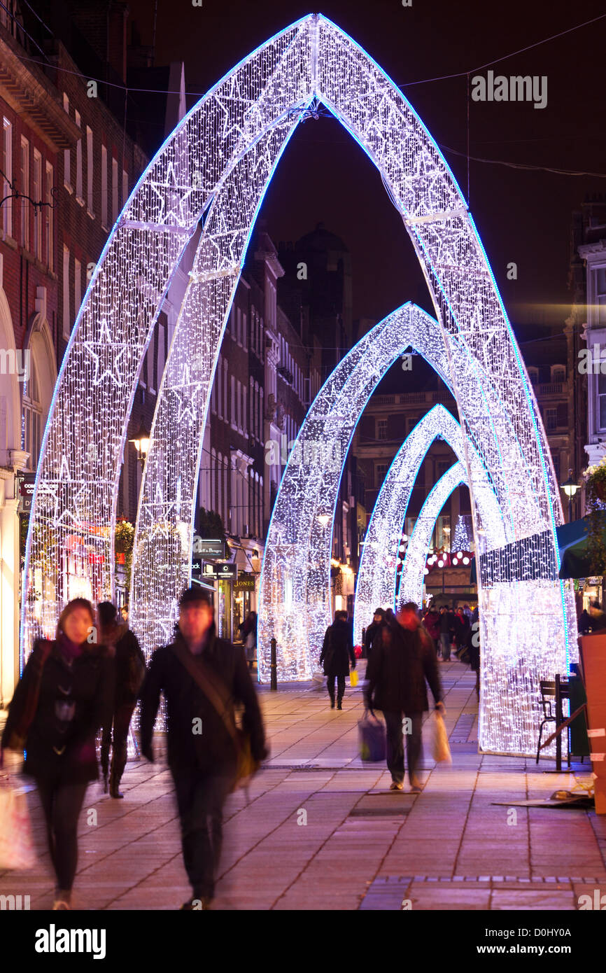 Christmas lights on South Molton Street in London. - Stock Image