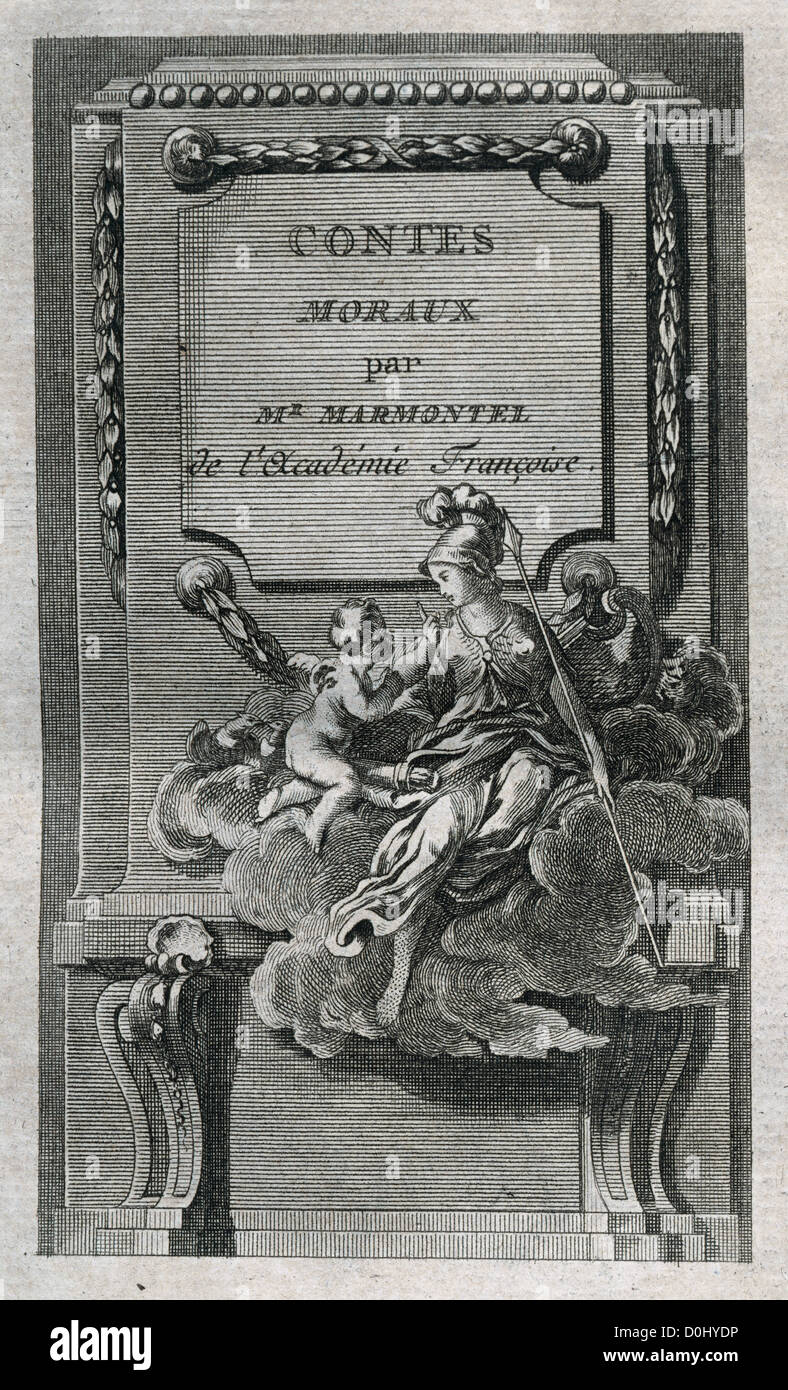 Jean Francois Marmontel (1723-1799). Moral Tales. Title cover. Edition printed in Liege, 1777. - Stock Image