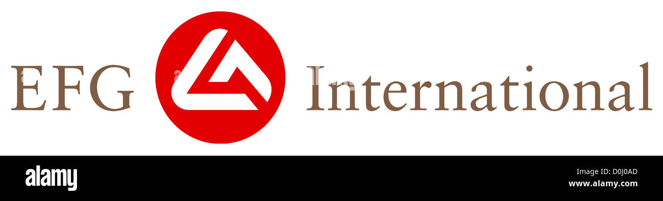Logo of the Swiss private bank group of EFG International with seat in Zurich. - Stock Image