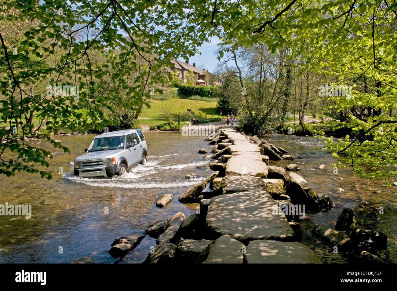 Tarr Steps ancient clapper bridge, Exmoor, Somerset - Stock Image