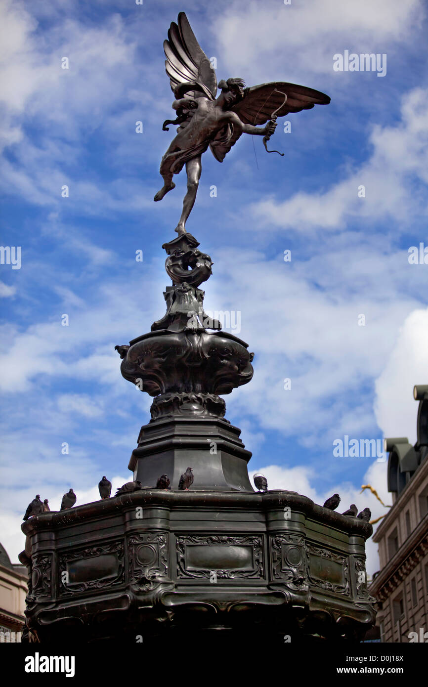 A view of the statue of Anteros perched on top of the Shaftesbury Memorial in Piccadilly Circus. - Stock Image