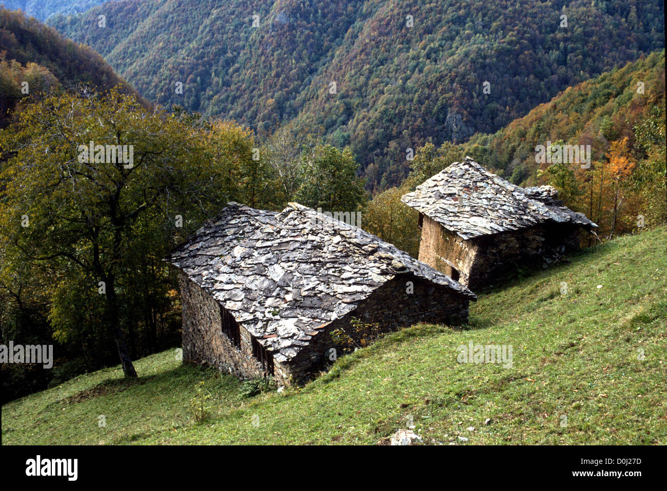 CHARACTERISTIC STONE-BUILT MOUNTAIN HOMESTEAD -PIEDMONT -ITALY - Stock Image