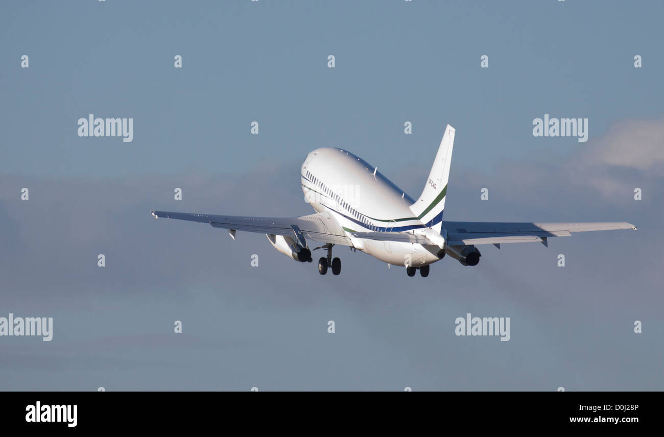 Jet Connections Boeing 737 VP-CAQ Departing London-Luton Airport LTN - Stock Image