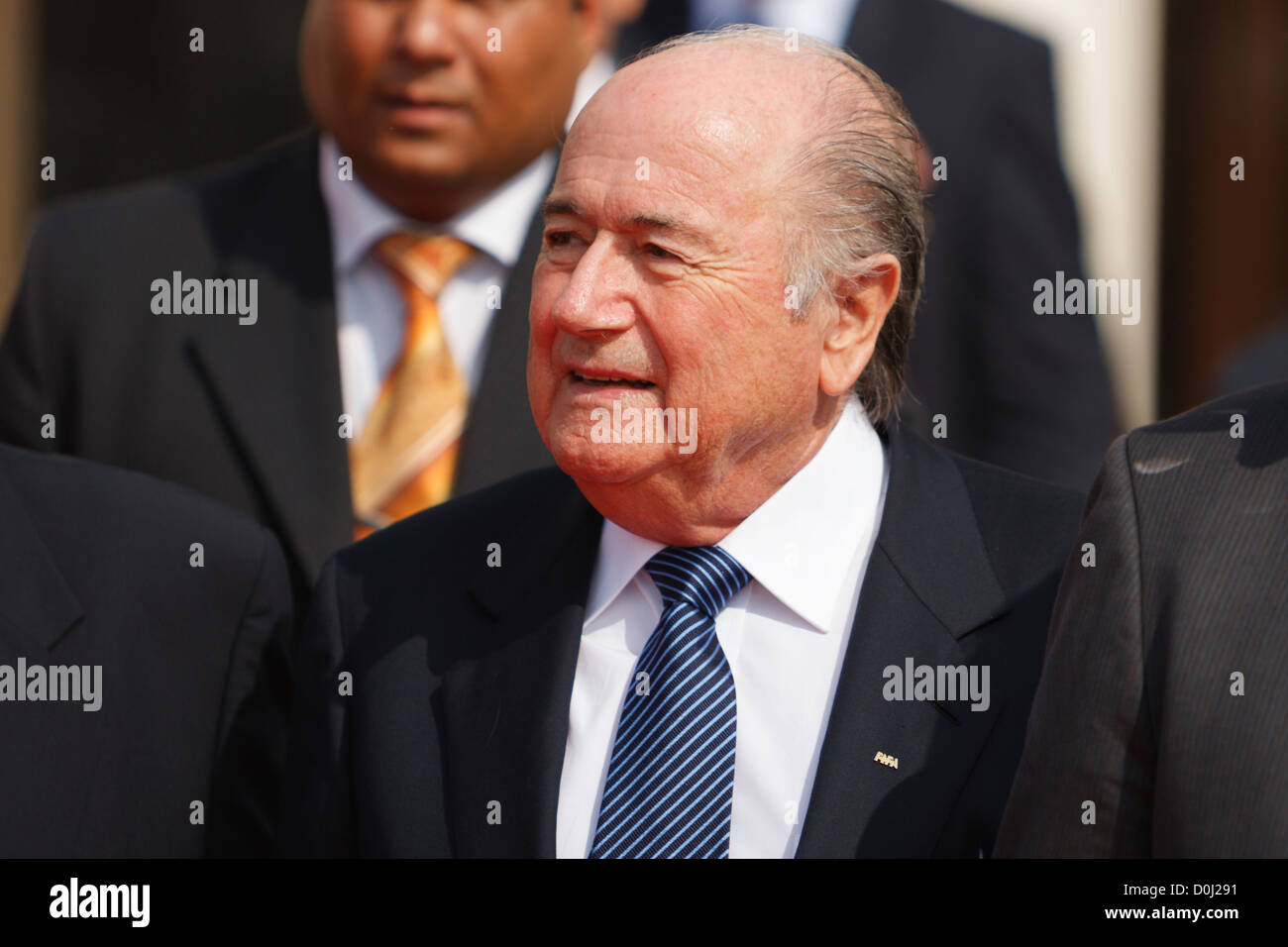 FIFA president Sepp Blatter attends a ceremony at the Egyptian FA ahead of the 2009 FIFA U-20 World Cup final. - Stock Image