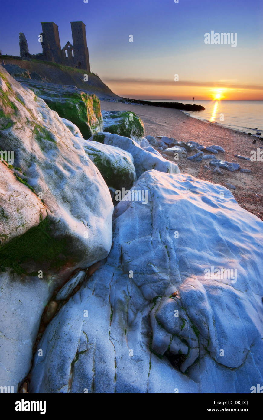Sunset at the Reculver Towers in Kent. Stock Photo