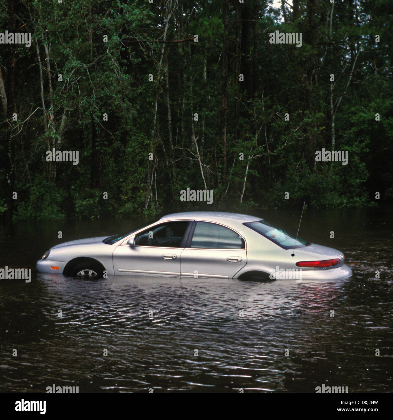 A Car Submerged in Flash Flood Waters - Stock Image
