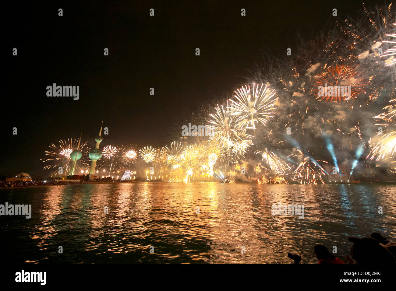 Kuwait Fireworks, Kuwait celebrated 50 years of constitution a fantastic fireworks display, Guinness World Records - Stock Image
