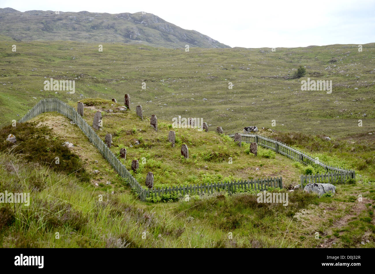 The graves of navvies who died during the construction in the early 1900s of the Blackwater Reservoir near Kinlochleven - Stock Image