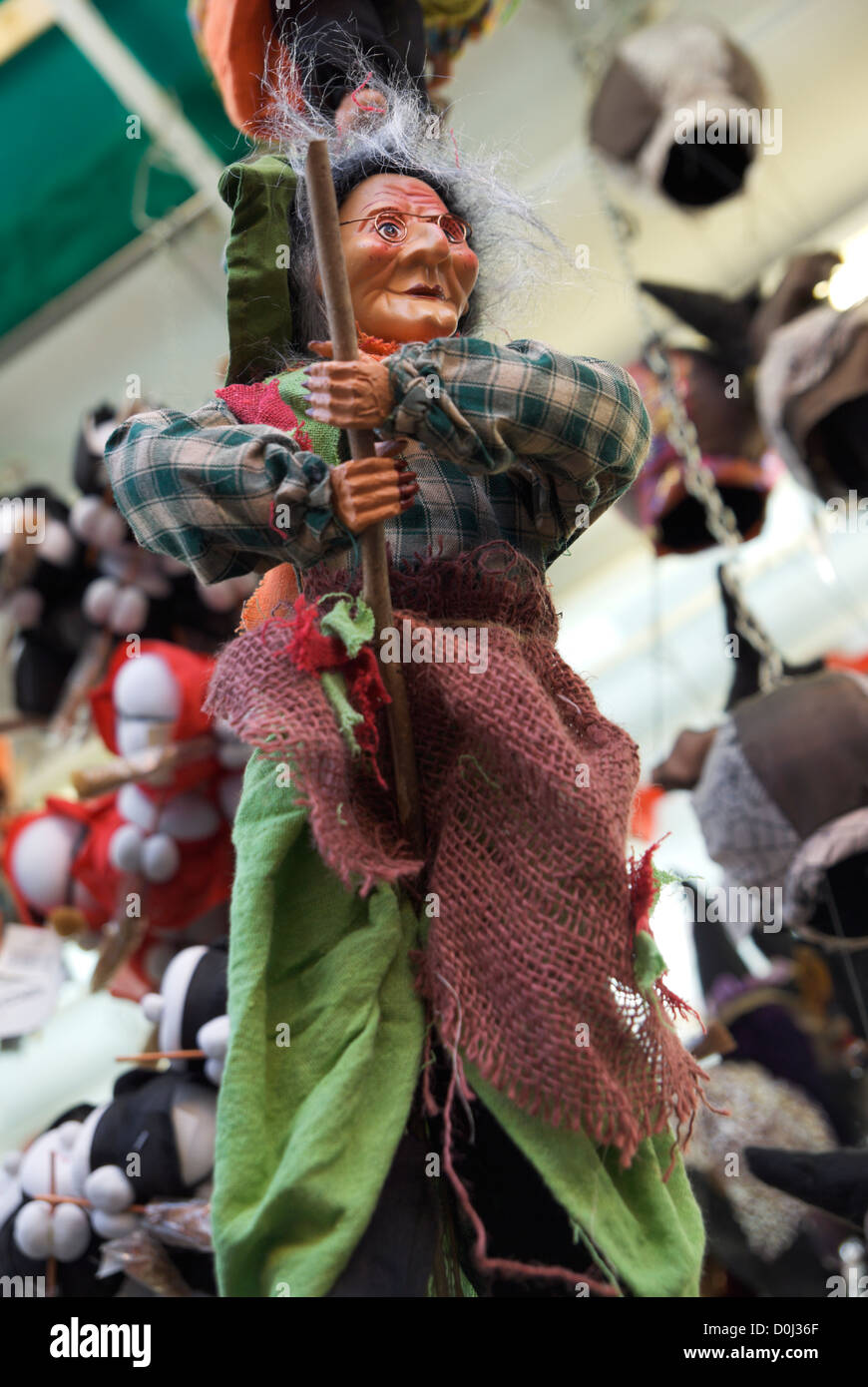 Befana Witch Doll Close Up Shallow DOF Piazza Navona Christmas Market Rome