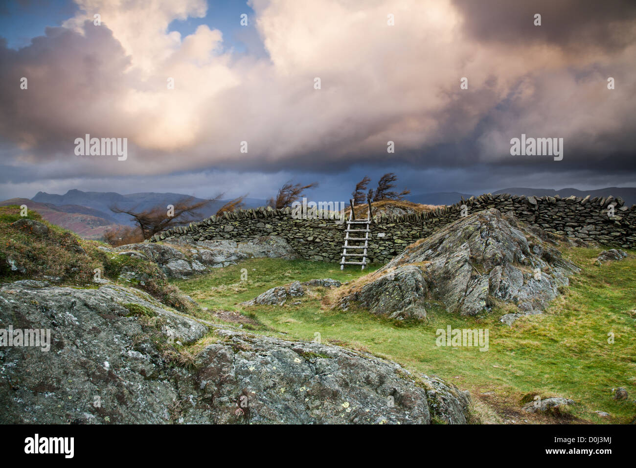 Stormy skies over Black Crag near Windermere. - Stock Image