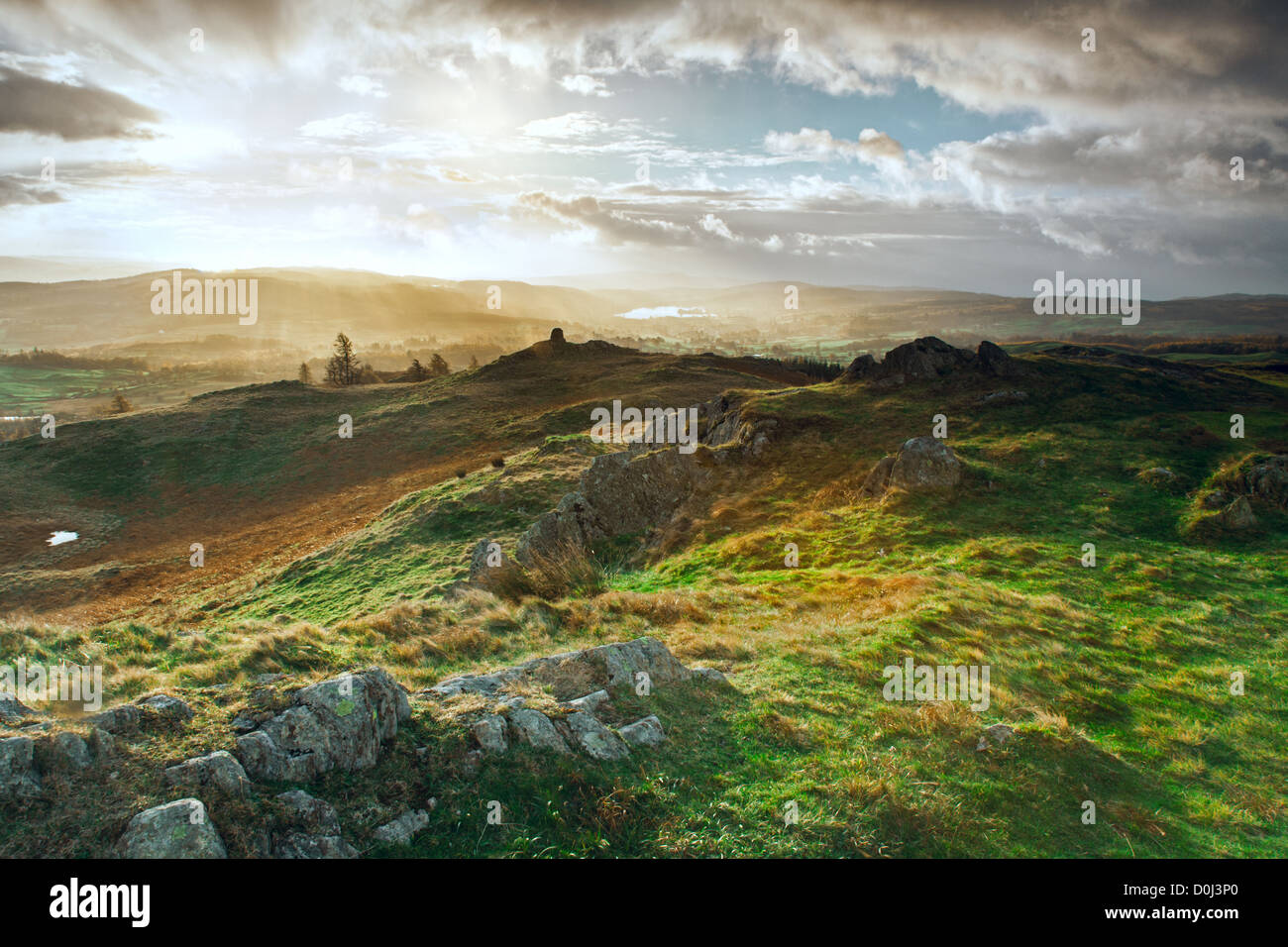 Daybreak over Esthwaite Water in Cumbria. - Stock Image