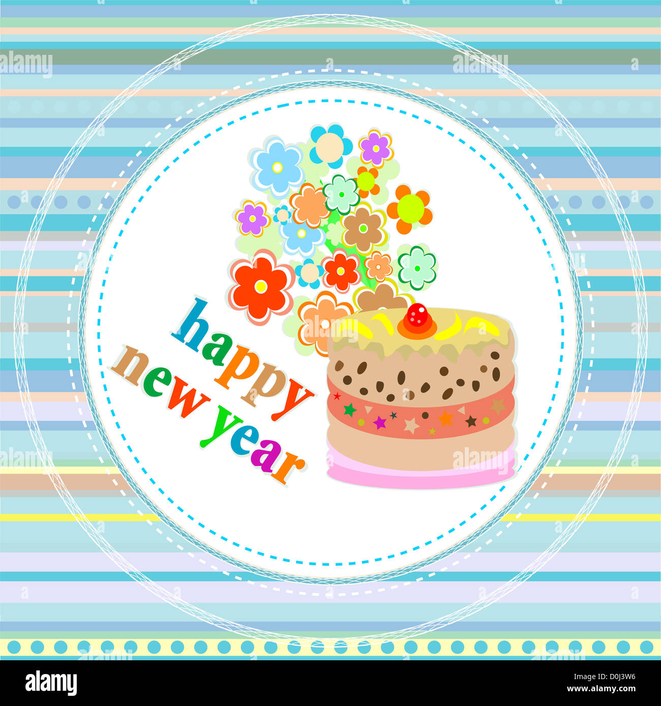 flowers and christmas greetings, new year card with a cake - Stock Image